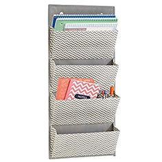 Amazon.com: mDesign Wall Mount/Over the Door Fabric Office Supplies Storage Organizer for Notebooks, Planners, File Folders - 4 Pockets, Gray/Cream: Office Products