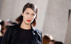 Download wallpapers Bella Hadid, American model, 4k, portrait, black jacket, make-up, beautiful woman