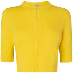 L.K. Bennett Karin Hook And Eye Cardigan , Yellow ($125) ❤ liked on Polyvore featuring tops, cardigans, yellow, round neck top, half sleeve tops, short-sleeve cardigan, round neck crop top and half sleeve cardigan