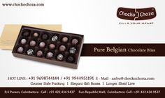 Pure Belgian chocolate that soft and gooey. Its an assortment of 6 different flavors Orange feel , Rum Ganache , Crispy Praline , Dark Bliss and Cocoa Coconut.Made with Pure Belgian Chocolate.(Only Cocoa Butter, No Artificial Fat)