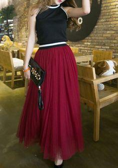 Wine Red Plain Grenadine Draped Puffy Tulle High Waisted Fashion Tutu Maxi Skirt