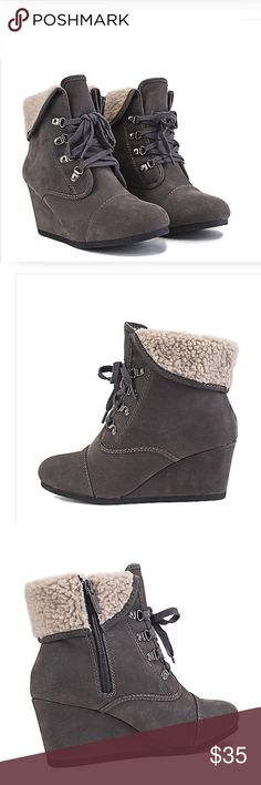 Brand new boots Edgy yet chic. The Nast-S definitely brings that edginess to fashion with it's low inch wedge, lace-up closure, and fold-down, fur shaft, it is perfect for the the sporty and outdoorsy type of chick. Pair them off with denim jeans and a fitted sweater or button down blouse.  Wedge height: 2.75 in. Shaft: 4.5 in. Opening: 12 in. (approx.) Synthetic suede upper Fold down fur shaft Lace-up closure with bronze eyelet brackets Side zip closure Round toe Al man made material Shoes…