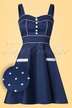 Vanity Pin Dots Mini Swing Dress in Navy African Dresses For Kids, African Print Dresses, African Print Fashion, African Fashion Dresses, Vintage Style Dresses, South African Traditional Dresses, Shweshwe Dresses, Party Dresses