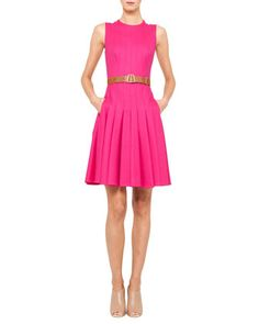 Sleeveless+Belted+Pleat+Dress+by+Akris+at+Neiman+Marcus.