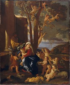 HOLY FAMILY WITH ST. JOHN THE BAPTIST  ( THE REST ON THE FLIGHT INTO EGYPT ). oil on canvas. 76 × 63 cm. Provenance : possibly from the collection of the della Torre family in Naples. Bibliografia : Blunt 63; Thuilllier 57. Exhibited : 1960, Paris, n. 27.