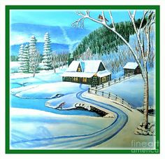 Winter Scene Cabin Mountain Home Nestled Below A Mountain Covered With Evergreen Deciduous Trees Frozen Pond In Front Of Home Decorated Christmas Tree Front Porch Tall Deciduous Birch Tree In The Front With Cardinal Female Eying A Male Cardinal In A Nearby Tree Evergreens And Deciduous In The Back On The Hillside Or Mountain Purple Blue Mountains In Background With Mist Sun Coming Out Romantic Winter Scene Paintings Acrylic Paintings  Painting - Cabin Fever At Christmastime by Kimberlee…