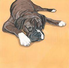 Custom Dog Portrait 14x18 gift for him gift for her by ArtbyManda