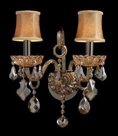 ELK Lighting 24000-2 Julianne Two Light Sconce In Black Chrome And Golden Amber Glass