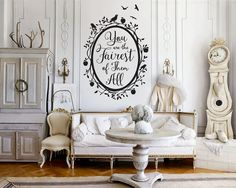 Snow White Fairest of Them All Quote in Woodland Mirror Wall Decal - Custom Vinyl Art Stickers for Homes, Bedrooms, Interior Designers