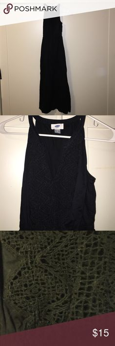 """Black maxi dress Old navy Wore once, really cute, black maxi with nice detail in chest area. I am 5'3"""" and this fits perfect with flip flops. Old Navy Dresses Maxi"""