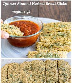 These Quinoa Almond Herbed Bread Sticks are made in some unique steps and the combination is outstanding as well. Its delicious, satisfying and yet healthy. Along with being vegan it is gluten free too | kiipfit.com Healthy Breads, Healthy Eating, Easy Bread Recipes, Vegan Recipes, Vegetarian Food Blogs, Vegan Muffins, Vegan Bread, Vegan Baking, Nutritious Meals