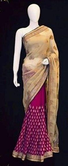 SareeStudio Pink Beige Wedding Wear Zari Designer Viscose Georgette Sari #SareeStudio #BollywoodDesignerSareeSari #WeddingWear