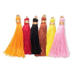 Tassel, silk (imitation) and copper, assorted colors, 1-3/4 to 2 inches. Sold per pkg of 12.