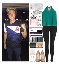 """""""Party with Niall"""" by monafce ❤ liked on Polyvore featuring Topshop, H&M, Jimmy Choo, NARS Cosmetics, Holmegaard, INIKA, Christian Dior, Uncommon, Forever 21 and Brinley Co"""