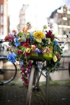 ♔ Flower bicycle in Amsterdam