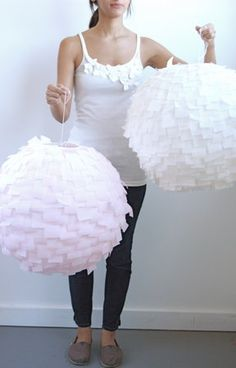 Modern crepe paper lanterns ; love how they are huge!