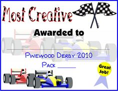 Pinewood Derby Certificates