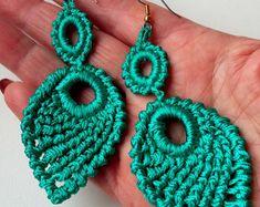Ganchillo pendientes, Teal Color Aqua pendientes, pendientes largos, pendientes elegantes, pendientes Eexquisite, pendientes góticos, regalo niña - Knittee