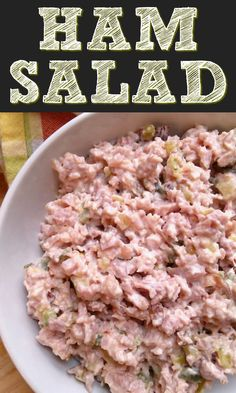 Also called Deviled Ham Salad or Pickle Wrap Spread/Dip this recipe is made with ground or chopped ham with sweet pickle relish and mayo and is amazing on sandwiches or crackers. - Ham - Ideas of Ham Recipes With Cooked Ham, Ham Salad Recipes, Leftover Ham Recipes, Healthy Crockpot Recipes, Pork Recipes, Cooking Recipes, Chopped Ham Salad Recipe, Appetizers, Chicken