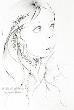 Fine Art Fantasy Original Drawing Black & White by ABitofWhimsyArt, $245.00