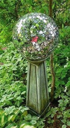 Homemade gazing ball using an old bowling ball by lynette
