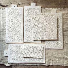 Justine Lacost-Epure handmade patterned porcelain serving boards | Remodelista
