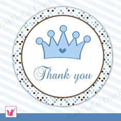 INSTANT DOWNLOAD Prince Party Thank You Tag - Blue Brown Polka Dots Circle Baby Shower Favors Birthday Party Favors Party Decorations