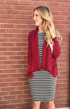🔹The Rachel Cardigan🔹    🔸Cuddle up this fall with this great wrap cardigan. It's fleece lined for maximum warmth BUT thin enough to wear under a coat. It's so soft and the waterfall front is adorable. Throw this cardigan on with a T-shirt, dress, or even with your workout wear. Come in two colors, heather grey and maroon red. Get them while their hot!    🔸$22shipped.    🔸To purchase comment SOLD and your PayPal email address + your size. OR comment your email address and we will send…