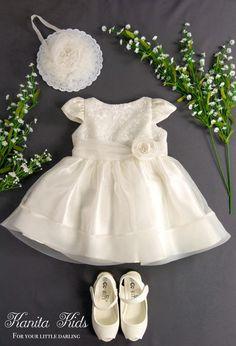 Ivory Toddler Dress, Toddlers Easter Dress, Christening Gown, Ivory Flower Girl Dress, Ivory Baptism Dress, Infant Flower Girl Dress by KanitaKids on Etsy