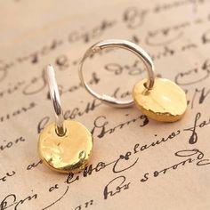 silver hoop earrings with vermeil disc by otis jaxon   notonthehighstreet.com