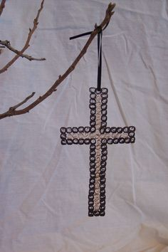 Quilled Cross Ornament. Find me on Facebook and Etsy! Kate's Paper Crafts
