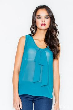 The translucent blouse made of chiffon in shades of sea
