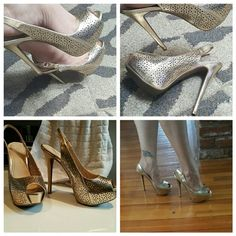 NEW! Beautiful gold BCBG platforms BRAND NEW Sexy, gorgeous gold high heels with flower cut out detail  much nicer in person. Perfect color will go with everything. Color is like the first pic light gold,the lighting in the other pics make it seem darker gold. BCBGeneration Shoes Platforms