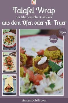 FALAFEL WRAP - DER LIBANESISCHE KLASSIKER AUS DEM BACKOFENKnusprige Falafel mit knackigem Salat und einer cremigen Tahinisauce sind eine Traumkombi. Dieser libanesische Klassiker aus dem Backofen ist vegan und glutenfrei möglich. Unter dem Rezept für den Falafel Wrap findest du Hinweise zum Frittieren oder für die Zubereitung im Air Fryer. #FalafelWrap #Wrapsrezepte #veganeRezepte #glutenfreieRezepte #vegetarischesEssen #AirFryerRezepte #gesundeRezepte #FalafelBackofen #libanesischeRezepte Tapas, Falafel Wrap, Snacks, Chili, Gluten Free Recipes, Foods, Thai Cucumber Salad, Lebanese Recipes, Deep Frying