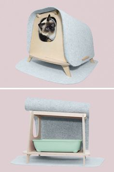 The Wool Lodge is a modern multipurpose piece of pet furnitiure that can be used as a cat's litter box or as a cat and dog bed. It's made in France from plywood and merino wool. Click through to see more photos and more information. #CatFurniture #CatBed #DogBed #CatLitterBox #StylishCatBed