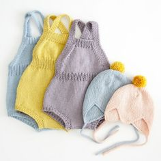 These are SO adorable. Knit onesies and pixie / djevellue helmets (love the shape of these little garter stitch hats called Djevellue). ~~ lillelovaknits by Lotte