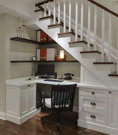 Office space under the stairs -small space living