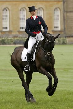 Zara warming up for the Dressage phase