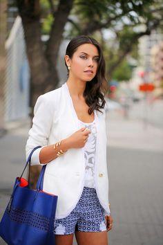 Blue  White Printed Shorts  White Blazer