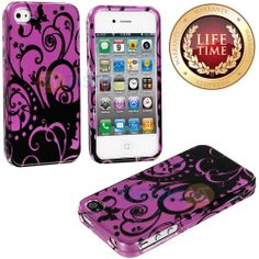 Amazon.com: myLife (TM) Purple + Black Vines and Swirls Series (2 Piece Snap On) Hardshell Plates Case for the iPhone 4/4S (4G) 4th Generati...