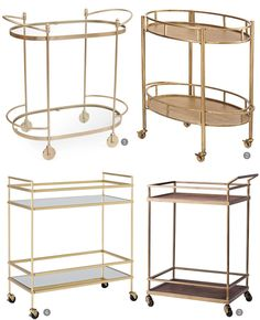 These gilded bar carts from @onekingslane, @homedecorators, @target, and @westelm will make serving your #holiday guests a breeze