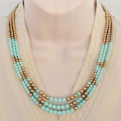 Color Block Mint Green and Gold Triangle Patterned Necklace from lumibon