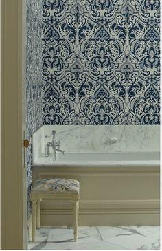 gorgeous blue and white bath