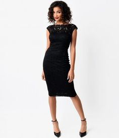 Consider Blanche the perennial belle of the ball! A stunning all over black wiggle dress fresh from Unique Vintage, comp...Price - $128.00-b815preA
