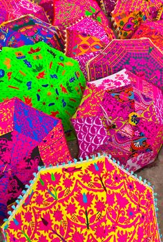Umbrellas outside a shop, Jaipur, Rajasthan, India! Wow these colours and the prints!