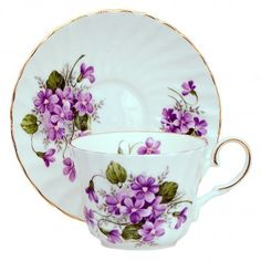 Vintage Wild Violets Bone China Tea Cup and Saucer, Made In England - China Cups And Saucers, Teapots And Cups, Cup And Saucer Set, Tea Cup Saucer, Silver Tea Set, Antique Tea Cups, Vintage Teacups, China Tea Sets, Bone China Tea Cups