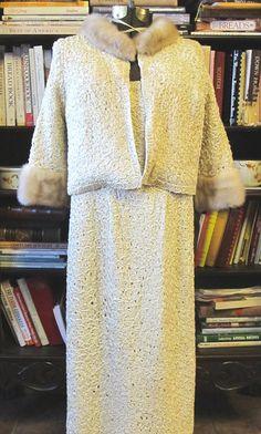 Vintage ribbon dress with a blonde mink fur trimmed jacket