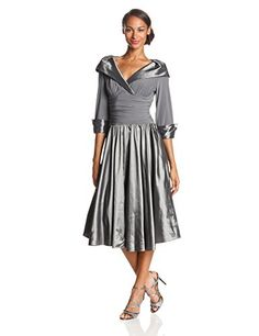 Jessica Howard Women's 3/4 Sleeve Rhinestone Cuff Portrait Collar Dress, Silver, 16 Jessica Howard http://www.amazon.com/dp/B00IKF0VVK/ref=cm_sw_r_pi_dp_2auwub049TDMG