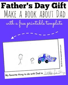 Homemade Father's Day gift from kids: A book about Dad - The Measured Mom.maybe try to make it more of a scrapbook style with handwriting instead of printed. I could write and kids could illustrate. Homemade Fathers Day Gifts, Diy Father's Day Gifts, Father's Day Diy, Daddy Gifts, Fathers Day Crafts, Gifts For Dad, Homemade Gifts, Daddy Day, Mother And Father