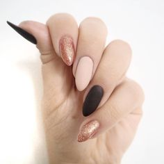 50 #matte black nail art with glitter   designs and ideas for DIY   coffin   easy and simple for beginners   gel polish   acrylic